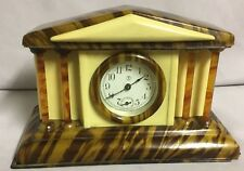 Lux Courthouse With Columns - Tortoise Shell Brown Trim - Celluloid Clock 1935