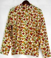 Denim & Co. Size L Long Sleeve Mock Neck Leaf Print Orange Ivory Top A216541