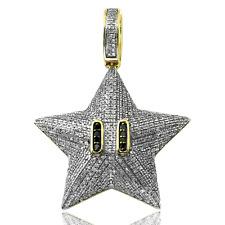 10 K Solid Gold .80 Carat Natural Diamond Mario Brothers Star Pendant Cartoon