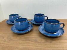 English Stoneware Blue Cup and Saucer Set - Rams Head - Denby