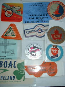 ORIGINAL 1930s-60s AIRLINE LABELS-BOAC TWA QANTAS LUFTHANSA etc + NEW ADDITIONS