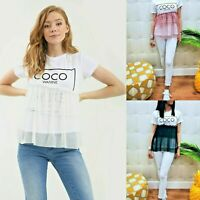 Ladies Coco Slogan Frill Mesh Ruffle Peplum Tutu Net Fashion Tulle T-Shirt Top