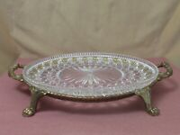 Vintage Pressed Glass Round Serving Platter with metal stand marked 7549