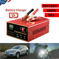 Car Motorcycle Lead Acid Battery Charger Full Automatically 12V/24V 10A 140W US