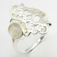 925 Solid Silver Gemstone Wholesale Jewelry Rainbow Moonstone Ring Size 9