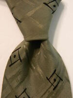 GIORGIO ARMANI Vintage Men's Silk Necktie ITALY Luxury Geometric Green/Black EUC