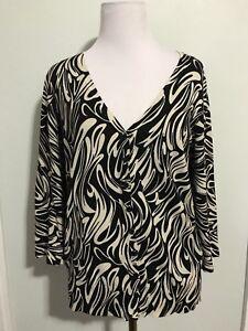 Josephine Chaus Cardigan Sweater Silk Blend 3/4 sleeve Black Beige Sz S
