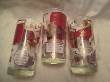 New ListingVintage Midcentury (3) Highball Bar Glasses Red Gold Drink Recipes Barware
