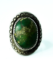 Sterling Silver JAS Green Turquoise Oval Etched Sun 31mm Cocktail Ring Size 10
