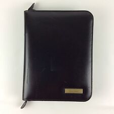 Daytimer Zip Planner Organizer 1 Inch Leather 7 Rings Black 8x10.5 with Inserts