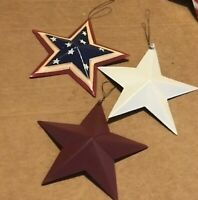 """red white blue country patriotic americana 5.5"""" Tin Metal Barn Star decor Sign"""