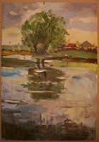 Russian Ukrainian Soviet Oil Painting Landscape impressionism village river wind