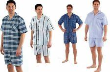 Mens Yarn Dyed Woven Pyjama Set Regular Check Cotton Blend Shorts M-XXL