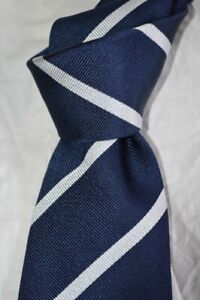 "$395 NWT TURNBULL & ASSER 7 FOLD Navy white Repp stripes 3.9"" silk tie ENGLAND"