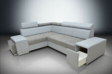 MODERN CORNER SOFA BERT WITH HEADRESTS, DRAWER IN THE ARM AND A FOOTSTOOL, grey