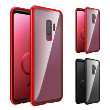 Magnetic Adsorption Metal Case For Samsung Galaxy S9 Red Luxury Clear GlassCover