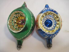 Old Vintage Tear Drop Indent Holiday Christmas Tree Ornaments Hand Painted 4""