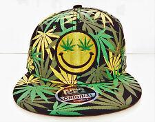 men womens weed cannabis snapback caps hat dope peak baseball smiley face logo