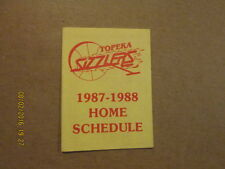 CBA Topeka Sizzlers Vintage 1987-1988 Pocket Schedule