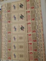"""LOS ANGELES DODGERS UNCUT SHEET OF 6 1991 WORLD SERIES+ PLAYOFF GHOST TICKETS"""""""