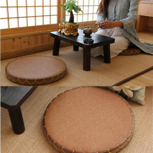 Japanese-Style Tatami Futon Seat Cushion Round Tea Ceremony Zen Floor Window Mat