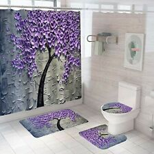3D Floral Bathroom Rug Set Shower Curtain Bath Mat Non-Slip Toilet Lid Cover