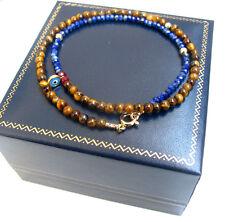 Lapis tiger eye blue evil eye 14k gold bracelet beads bead gem men women strand