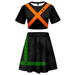 My Hero Academia Bakugou Katsuki Cosplay 3D Printed Girls Tee Skirt Suit