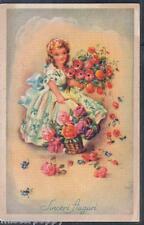 Bambina con molti Fiori rose Rosse Girl w Flowers PC Circa 1940