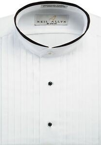 """NWT Men's Banded Collar 1/2"""" Pleats Tuxedo Shirt with Black Piping. Size XS-5XL."""