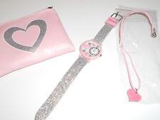 Tikkers Girls Love Hearts Glitter Strap Analogue Watch Gift Set purse necklace