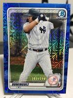 2020 Bowman Chrome Jasson Dominguez Blue Ref Mega 101/150 Yankees Prospect