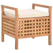 Vidaxl legno massello di noce Cassapanca 49x48x49cm con Cuscino Bauletto Cassa