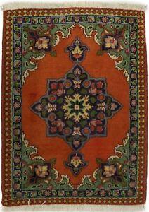 Semi Antique Handmade Floral Orange 2X3 Small Oriental Rug Vintage Wool Carpet