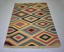 Hand Woven Colorful Cotton Kilim Rug Geometric Kazak Handmade 4x6 Feet DN-1467