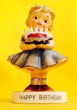 Happy Birthday! Cute Girl Vintage Figurine Norcrest Napco Rare Sale Angel