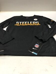 Pittsburgh Steelers Youth Long Sleeve Dri-Fit Training Shirt Black Large 14-16
