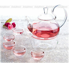 8in1 Tea Set-Heat Resistant Glass 600ml High Handle Tea Pot+6x Cup+Round Warmer