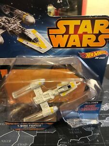 Star Wars Hot Wheels Y-Wing Fighter Yellow Leader Mattel - Collectible
