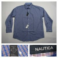Nautica Mens Blue Plaid Button Front Classic Fit Long Sleeve Dress Shirt Size 17
