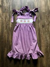 Precious Remember Nguyen Girl's Purple Polka Dot Smocked Flower Dress Size 3T