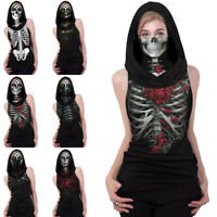 Womens Summer Sleeveless Vest Tops Ladies Casual T-Shirt With Face Hood Shirt UK
