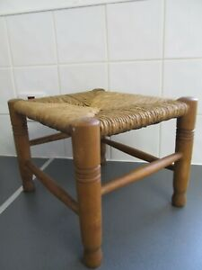 Vintage Original Woven Wicker Stool Seat Rattan Wood Cottage 23cm LOFT FIND