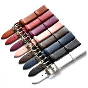 Vintage Genuine Leather Wristwatch Watch Strap Band Deployment Buckle Women Men