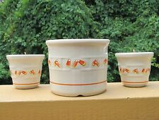 LONGABERGER POTTERY CANDY CORN CROCK W/2 VOTIVES~MADE IN USA~MINT CONDITION