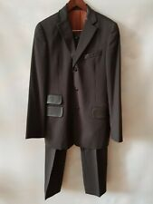 Dolce & Gabbana Mens Pinstripe Brown Pure Wool and Leather Trimmed Suit IT50