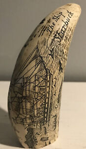 Vintage Faux Resin Scrimshaw The Ship Starbuck-New Bedford Maritime