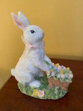 Teena Flanners Easter Bunny with pushcart full of eggs Figurine
