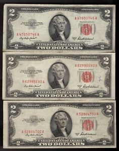 3 ea 1953-A $2 DOLLAR BILL United States RED SEAL Note