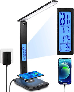 LED Desk Lamp Wireless Dimmable USB Charging Port Lighting Home Tool Improvement